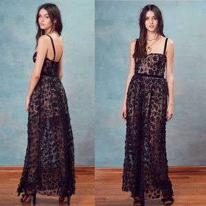 NWT for love&lemons embroidered maxi dress black